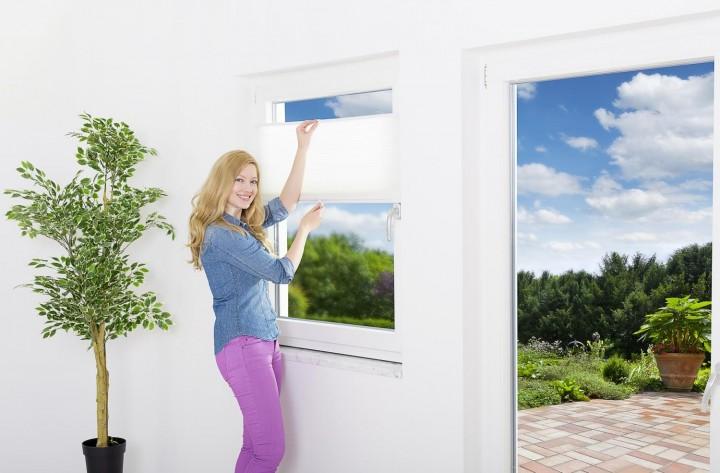 Sonnenschutz Fenster Doppelplissee, weiß/beige