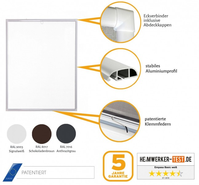 Fliegengitter Fenster Basic Zertifikat weiß