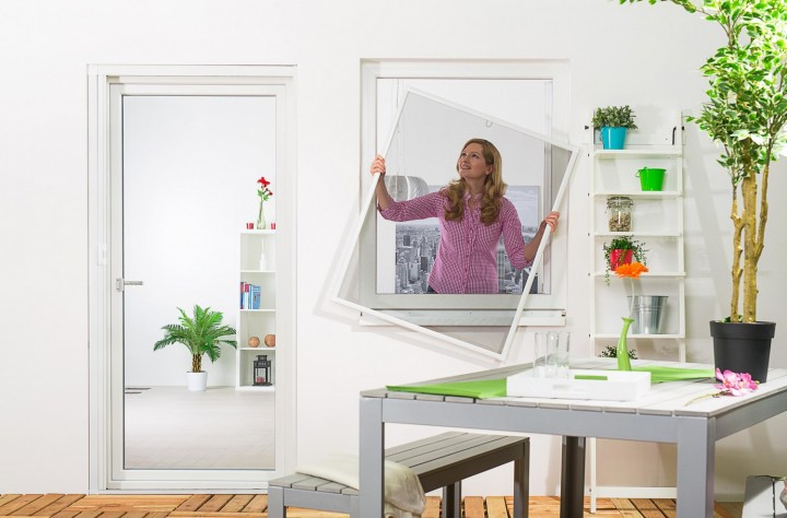 """Fliegengitter Fenster """"BASIC"""", Aufgebaut - Zuschnitt - Alurahmen"""