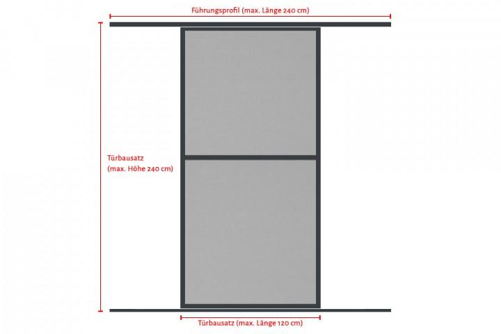 Schiebetür Bausatz besteht aus anpassbarer Türe und anpassbaren Laufschienen
