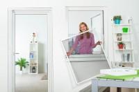 """Fliegengitter Fenster """"MASTER SLIM"""", Aufgebaut - Zuschnitt - Alurahmen"""